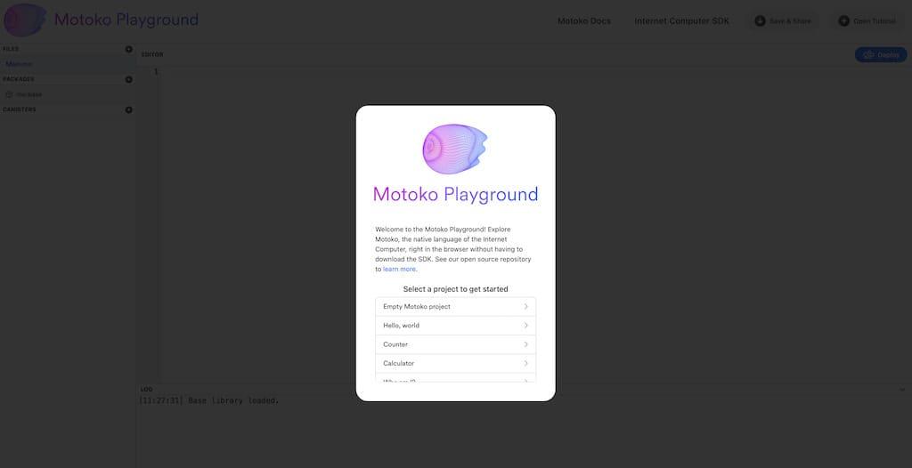 Motoko Playground Bildschirm