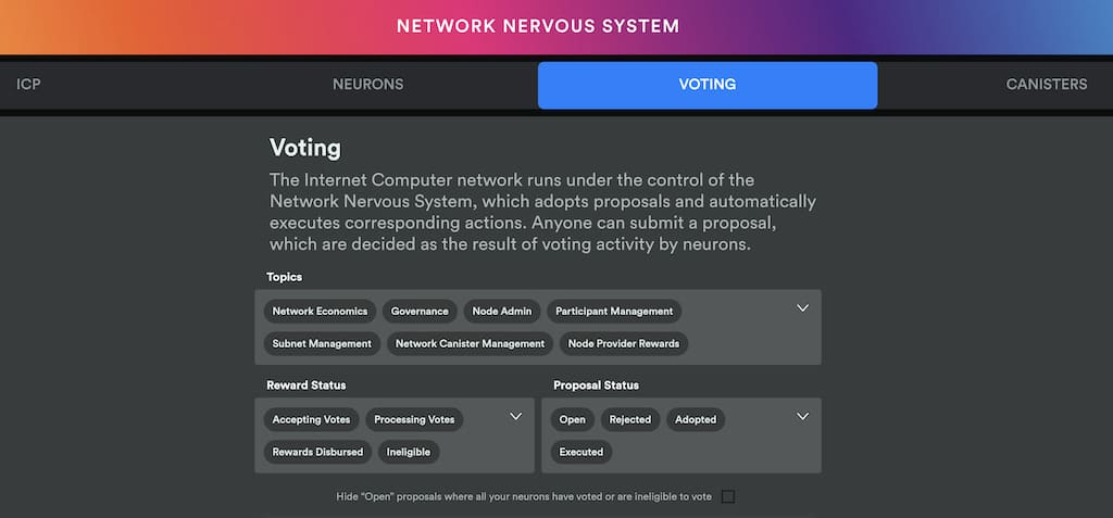 Voting Network Nervous System