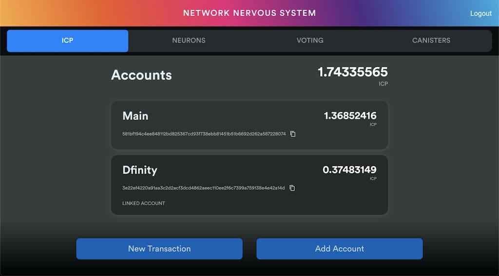 NNS dApp von Dfinity